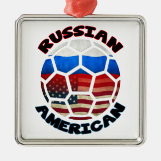 Russian American Soccer Ball Ornament