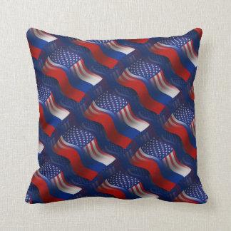 Russian-American Waving Flag Cushion