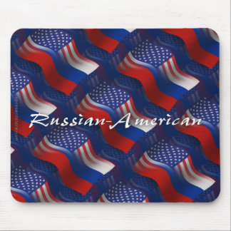 Russian-American Waving Flag Mouse Pad