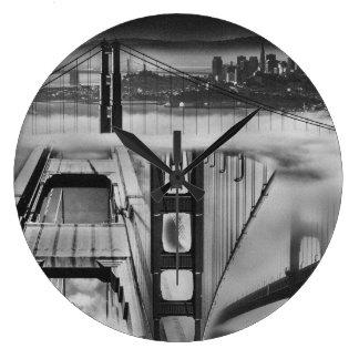 Russian Avant Garde Inspired Golden Gate Bridge Large Clock