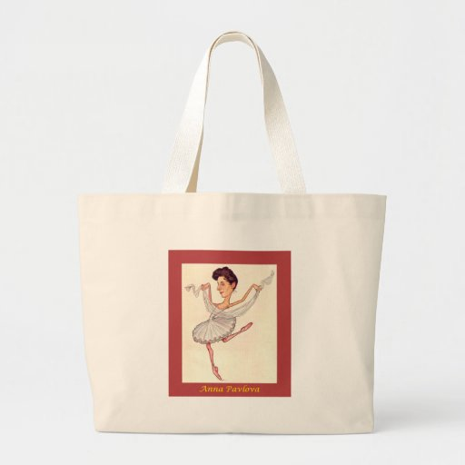 Russian Ballerina Caricature ~ Anna Pavlova Canvas Bags