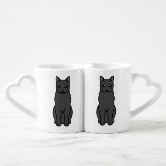 Russian Black Cat Cartoon Lovers Mugs