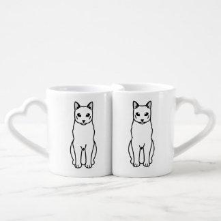 Russian Black Cat Cartoon Couple Mugs