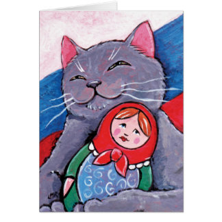 Russian Blue and Babushka Doll   Patriotic Cat Art Greeting Card