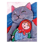 Russian Blue and Babushka Doll   Patriotic Cat Art Post Cards