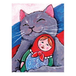 Russian Blue and Babushka Doll | Patriotic Cat Art Postcard