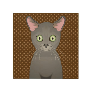 Russian Blue Cat Cartoon Paws Wood Canvases