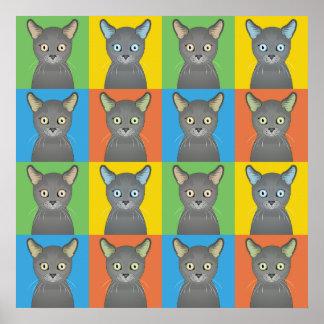 Russian Blue Cat Cartoon Pop-Art Posters