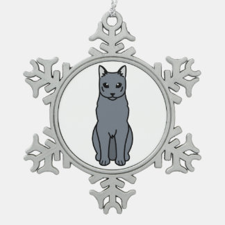 Russian Blue Cat Cartoon Snowflake Pewter Christmas Ornament