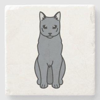 Russian Blue Cat Cartoon Stone Coaster