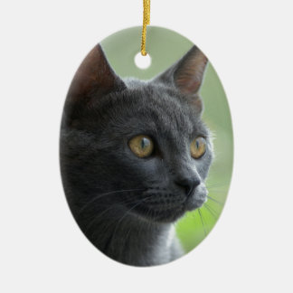 Russian Blue Cat Ceramic Oval Decoration