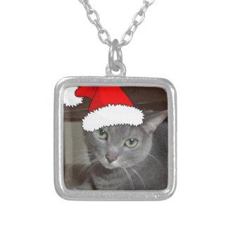 Russian Blue Cat Christmas Square Pendant Necklace