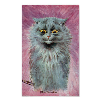 Russian Blue Cat, Louis Wain Poster