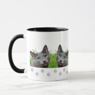 Russian Blue Cat Ringer Mug