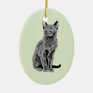 Russian Blue Ceramic Oval Decoration