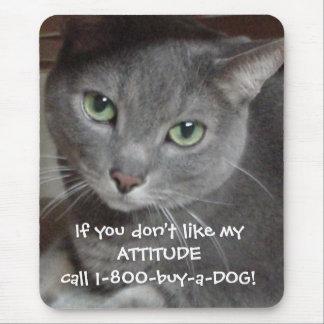 Russian Blue Gray Cat Attitude Humor Mouse Mat