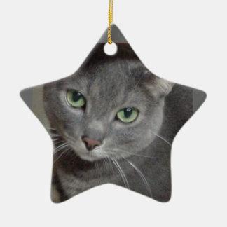 Russian Blue Gray Cat Christmas Ornament