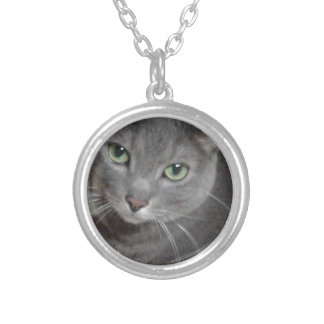 Russian Blue Gray Cat Necklaces