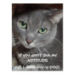 Russian Blue Grey Cat Attitude Humour Postcard