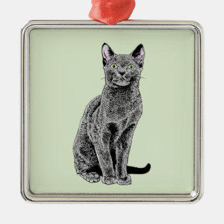 Russian Blue Silver-Colored Square Decoration