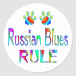 Russian Blues Rule Round Sticker