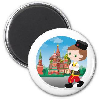 Russian boy 6 cm round magnet