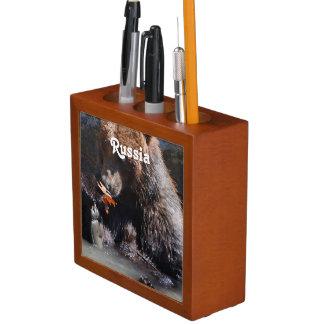 Russian Brown Bear Pencil Holder