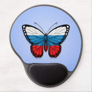 Russian Butterfly Flag on Blue Gel Mouse Pad