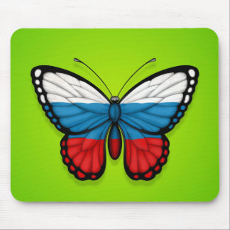 Russian Butterfly Flag on Green Mousepads