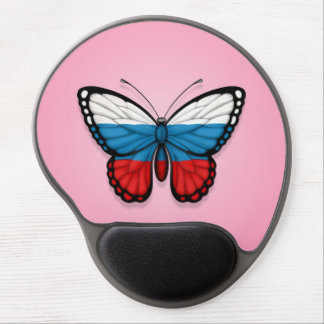 Russian Butterfly Flag on Pink Gel Mousepads