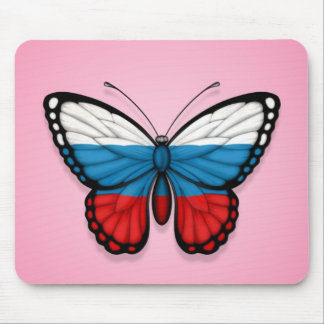 Russian Butterfly Flag on Pink Mousepad
