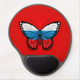 Russian Butterfly Flag on Red Gel Mouse Pad