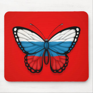 Russian Butterfly Flag on Red Mousepad