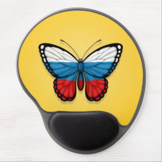 Russian Butterfly Flag on Yellow Gel Mouse Mat