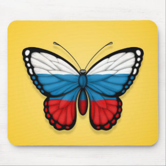 Russian Butterfly Flag on Yellow Mouse Pad