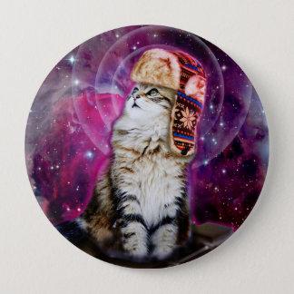 russian cat in space 10 cm round badge