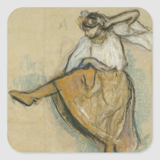 Russian Dancer by Edgar Degas Square Stickers