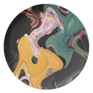 Russian dancers abstract plate
