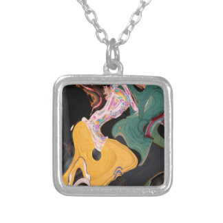 Russian dancers abstract silver plated necklace