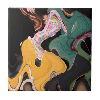 Russian dancers abstract small square tile