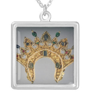 Russian diadem, gold set with pearls square pendant necklace