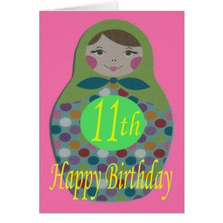Russian Doll Happy 11th Birthday Card