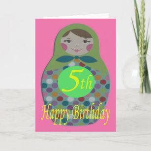Russian Doll Happy 5th Birthday Card