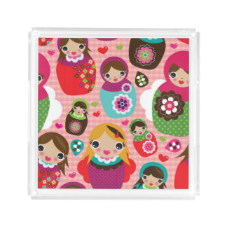 Russian doll illustration background acrylic tray