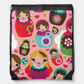 Russian doll illustration background drawstring bag