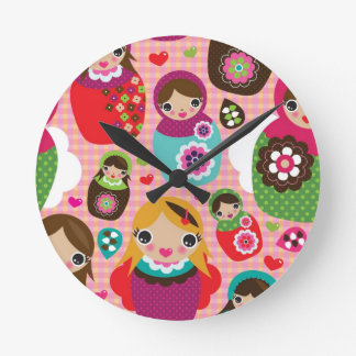 Russian doll illustration background round clock