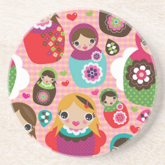 Russian doll illustration background sandstone coaster