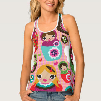 Russian doll illustration background tank top