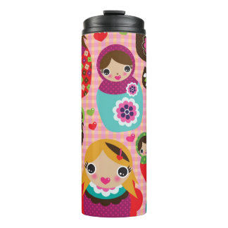Russian doll illustration background thermal tumbler