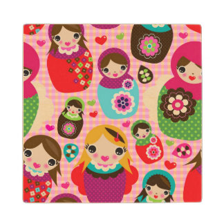 Russian doll illustration background wood coaster